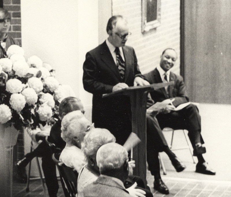 Decker Hall Dedication-June 1971-Pres Reardon at Podium.jpg