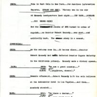 Script breaking the news of the assassination of Robert Kennedy