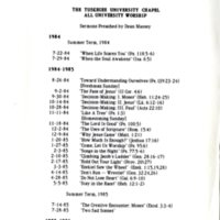 Titles of Massey's sermons preached at Tuskegee University Chapel