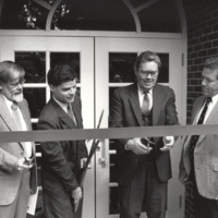 University Library Ribbon Cutting Ceremony-Dedication Oct 1989--Richard Snyder (left)-Pres Robert Nicholson (third).jpg